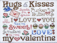 Click for more details of Hugs and Kisses for my Valentine (cross stitch) by Sue Hillis Designs