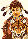 Click for more details of Indian Girl with Wolf (cross-stitch kit) by Lanarte