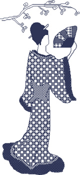 Click for more details of Japanese Lady (blackwork pattern) by Anne Peden