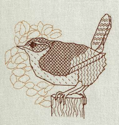 Click for more details of Jenny Wren (blackwork) by Anne Peden