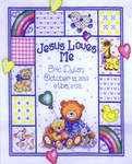 Click for more details of Jesus Loves Me Sampler (cross-stitch kit) by Design Works