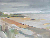 Click for more details of kildonan beach  Arran (oil on canvas) by Yvonne Healy