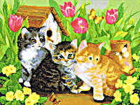 Click for more details of Kitties (cross-stitch pattern) by Kustom Krafts