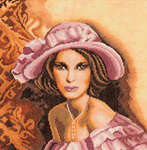 Click for more details of Lady in a Pink Hat (cross-stitch kit) by Lanarte