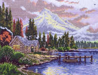 Click for more details of Lakeside Hideaway (cross-stitch) by Thomas Kinkade