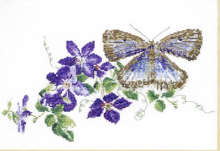 Click for more details of Large Blue Butterfly with Clematis (cross stitch) by Thea Gouverneur