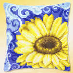 Click for more details of Large Sunflower on Blue Cushion Front (tapestry kit) by Vervaco