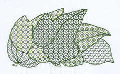 Click for more details of Leaf Group (blackwork) by Classic Embroidery