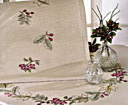 Click for more details of Leaves and Berries Table Cover (embroidery kit) by Rico Design