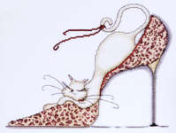 Click for more details of Leopard Shoe Kitty (cross-stitch kit) by Design Works