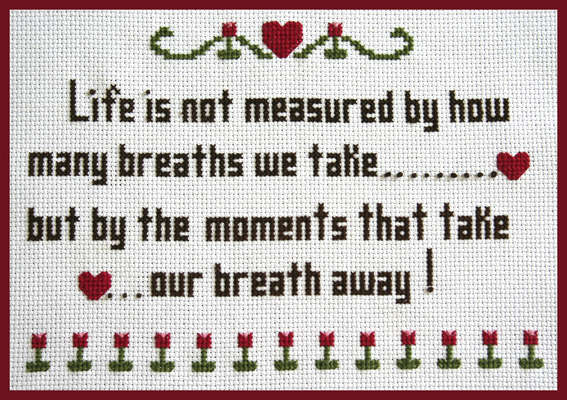 Click for more details of Life's Moments Sampler (cross-stitch pattern) by Mary Gaines