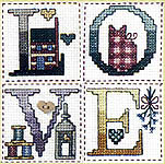 Click for more details of Little Bits of Country ABC's - An Alphabet Sampler (cross-stitch pattern) by Jeremiah Junction