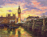 Click for more details of London (cross stitch) by Thomas Kinkade