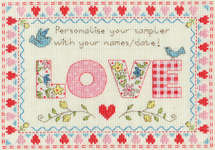 Click for more details of Love Sampler (cross stitch) by Bothy Threads