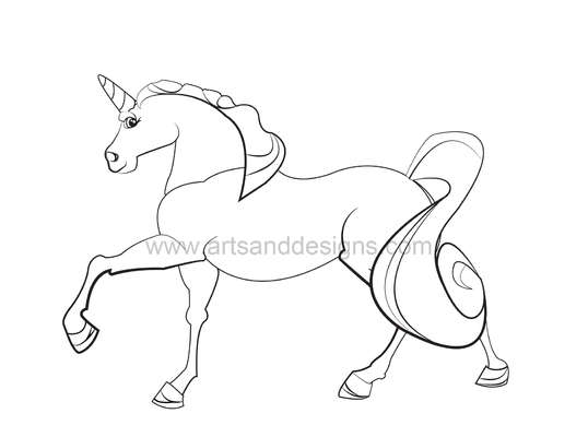 Click for more details of Magical Unicorn Digital Stamp - Black (digital downloads) by Julie Lynes