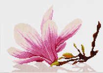Click for more details of Magnolia Twig with Flower (cross-stitch) by Lanarte