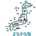 Click for more details of Map of Japan (cross-stitch pattern) by Sue Hillis Designs