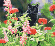 Click for more details of Max in the Zinnias (cross stitch) by Kustom Krafts