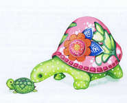 Click for more details of Mom and Baby Turtle (cross-stitch pattern) by Heaven and Earth Designs