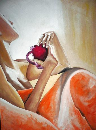 Click for more details of Morning Coffee (watercolour on paper) by Abhilasha Singh