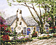 Click for more details of Morning Glory Cottage (cross-stitch kit) by Thomas Kinkade