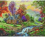 Click for more details of Mountain Retreat (cross-stitch kit) by Thomas Kinkade