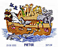 Click for more details of Noah's Ark Birth Sampler (cross-stitch kit) by Vervaco
