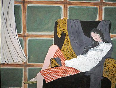 Click for more details of On The Couch (watercolour on paper) by Abhilasha Singh