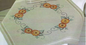 Click for more details of Orange Dahlias Table Cover (embroidery kit) by Permin of Copenhagen