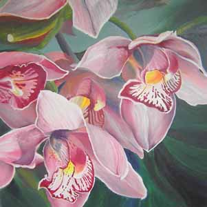 Click for more details of Orchids (oil on canvas) by Shirley Rothwell