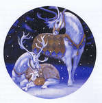 Click for more details of Ornament White Reindeer Family (cross-stitch pattern) by Heaven and Earth Designs