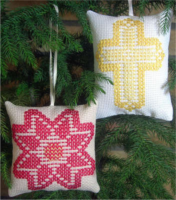 Click for more details of Ornaments 2 Cross/Poinsettia (swedish weaving) by Swedish Weave Designs