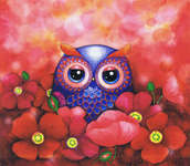 Click for more details of Owl in a Poppy Field (cross-stitch pattern) by Heaven and Earth Designs