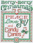 Click for more details of Peace and Candy Canes (cross-stitch pattern) by Sue Hillis Designs