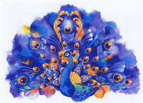 Click for more details of Peacock Sapphire and Gold (cross-stitch pattern) by Heaven and Earth Designs