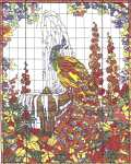 Click for more details of Peacock Stained Glass Window (cross-stitch pattern) by Kappie Originals