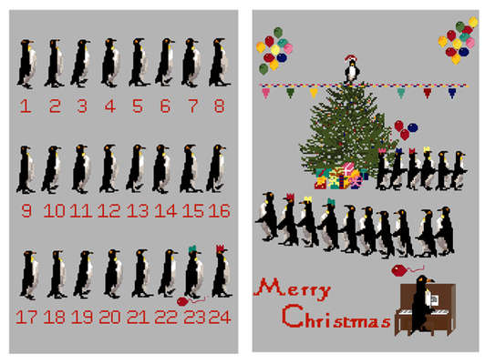 Click for more details of Penguin Advent and Christmas Party Wall Hanging (cross-stitch pattern) by Anne Peden