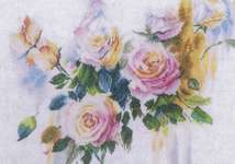 Click for more details of Pink Rose Bouquet (cross-stitch kit) by Lanarte