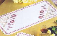 Click for more details of Pink Rose Hardanger Table Mats (hardanger kit) by Permin of Copenhagen