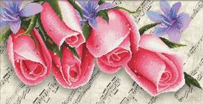 Click for more details of Pink Roses and Music (cross stitch) by Needleart World