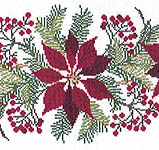 Click for more details of Poinsettia Table Runner (cross stitch) by Eva Rosenstand