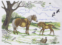 Click for more details of Pony with Foal (cross-stitch) by Eva Rosenstand