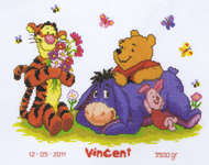 Pooh and Friends Flower Birth Sampler