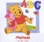 Click for more details of Pooh and Piglet ABC Birth Sampler (cross-stitch kit) by Disney by Vervaco