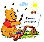 Click for more details of Pooh Painting Birth Record (cross-stitch kit) by Disney by Vervaco
