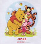 Pooh, Piglet and Tigger Birth Sampler