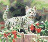 Click for more details of Pretty Holly Kitten (cross stitch) by Kustom Krafts