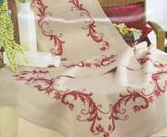 Click for more details of Red Acanthus Leaves Table Cover (embroidery) by Vervaco