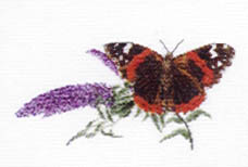 Click for more details of Red Admiral Butterfly and Buddlea (cross stitch) by Thea Gouverneur