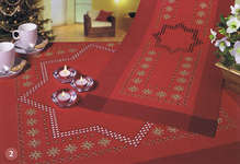 Click for more details of Red Christmas Stars Table Cover and Runner (hardanger) by Rico Design